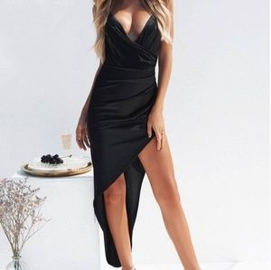 Champagne  sequined plunge asymmetrical dress